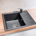 Sink for the kitchen 580x500x200 mm mortise rectangular with a wing