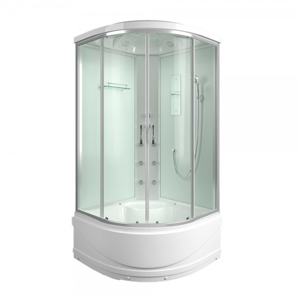 Shower enclosure with a high tray with a roof glass 4mm clear