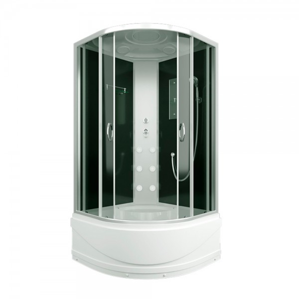 Shower cabin with a high tray with a roof 4mm tinted glass