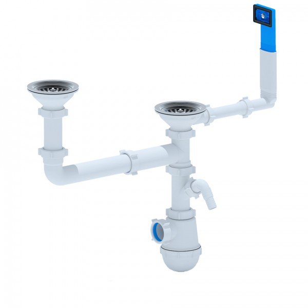 Double sink trap with stainless steel D 115 mm